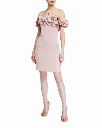 Theia Love, Ruffle Off-the-Shoulder Crepe Cocktail Dress