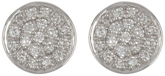 Adornia Fine 14K White Gold Circle Disc Pave Diamond Stud Earrings - Diamonds 0.1 ctw