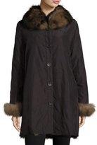 Belle Fare Reversible/Packable Fox Fur Long Coat, Black