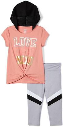 XOXO Sport SPORT Girls' Gymnastics Leggings DUSTY - Dusty Salmon Logo Twist-Front Top & White Leggings - Toddler & Girls
