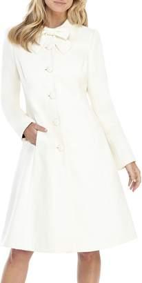 Gal Meets Glam Bow Necktie Wool Blend Coat