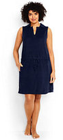 Lands' End Women's Plus Size Sleeveless Polo Cover-up Dress-Deep Sea