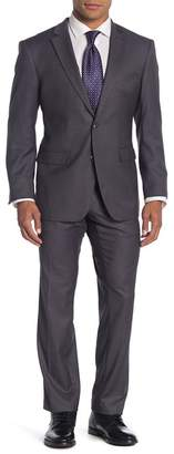 Perry Ellis Grey Dobby Two Button Notch Lapel Slim Fit Suit