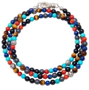Lapis Nialaya The Mykonos Collection - Turquoise, Red Glass Beads, Blue Lapis, Hematite and Onyx