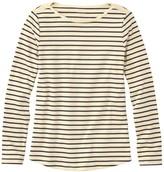 L.L. Bean L.L.Bean Women's Pima Cotton Shaped Tee, Long-Sleeve Boatneck Stripe