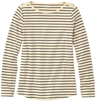 L.L. Bean Women's Pima Cotton Shaped Tee, Long-Sleeve Boatneck Stripe