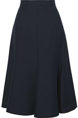 Valentino Fluted Wool And Silk-blend Cady Midi Skirt
