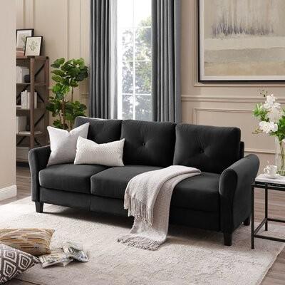 "Thumbnail for your product : Winston Porter Farreli 85"" Round Arm Slipcovered Sofa Fabric: Black"