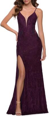 La Femme Stretch Lace Gown