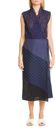 Zero Maria Cornejo Abbey Mixed Media Midi Wrap Dress