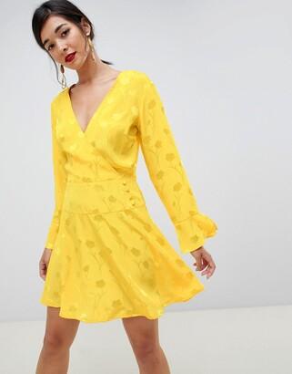 Asos Design DESIGN jacquard skater mini dress with long sleeves-Yellow