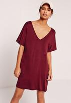 Missguided Burgundy Oversized Wide V Neck T-Shirt Dress