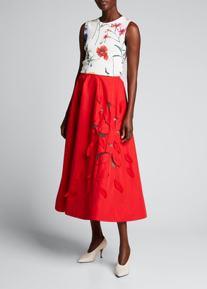 Oscar de la Renta Floral Knit Tank
