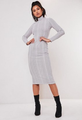 Missguided White Stripe High Neck Long Sleeve Midi Dress