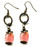 Moon Pixie Brass Dangle Earrings with Strawberry Quartz Antique Bronze