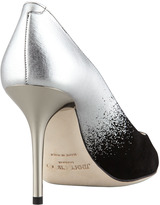 Jimmy Choo Agnes Ombre Pointed-Toe Pump, Black/Silver
