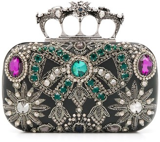 Alexander McQueen Embroidered Four-Ring Clutch