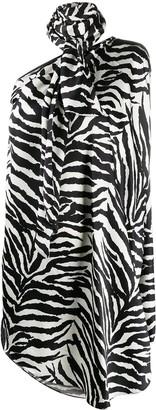 MM6 MAISON MARGIELA One-Shoulder Animal Print Asymmetric Dress