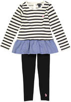 U.S. Polo Assn. Black Stripe Ruffle-Trim Top & Leggings - Infant, Toddler & Girls