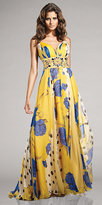 Yellow and Blue Print Gowns by Terani