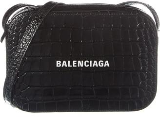 Balenciaga Everyday Small Croc-Embossed Leather Camera Bag