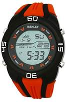 Henley Digital Sports Chronograph Watch on Silicone Strap Men's Digital Watch with Grey Dial Digital Display and Orange Silicone Strap HDG0218