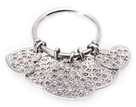 Christian Dior 18K White Gold Diamond Hearts Dangle Ring