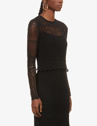 Alexander McQueen Semi-sheer cotton-blend knitted top