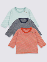 Marks and Spencer 3 Pack Pure Cotton Striped T-Shirts