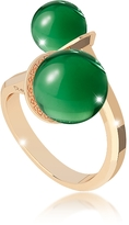 Rebecca Boulevard Stone Yellow Gold Over Bronze Contrarié Ring w/Hydrothermal Green Stones