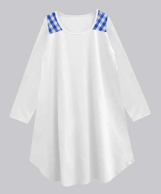 A.T.U.N. Women's Tunics blue - White & Blue Fox Gingham-Contrast Myra Tunic - Women & Plus