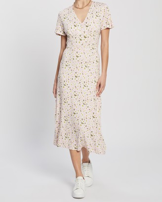 Dorothy Perkins Button-Through Angel Sleeve Midi Dress