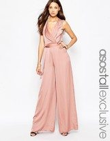 ASOS Tall ASOS TALL Wrap Front Wide Leg Jumpsuit
