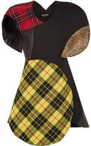Junya Watanabe Patchwork Tartan Wool-blend, Faux Leather And Faux Fur Dress - Bright yellow