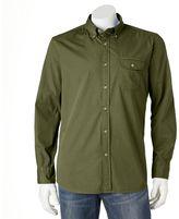 Croft & Barrow Men's Solid Crosshatch Casual Button-Down Shirt