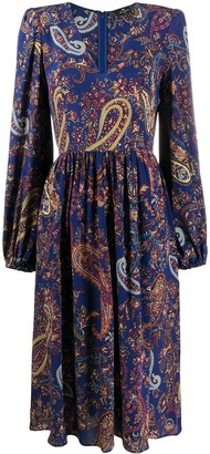 Etro Gathering Detail Paisley Print Dress