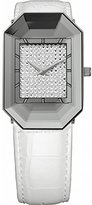 Jowissa Women's J8.011.M Scala Stainless Steel White Genuine Leather Rhinestone Imprint Dial Watch
