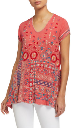 Johnny Was Petite Madhuri Embroidered Short-Sleeve Tunic