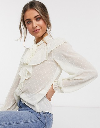 New Look pussy-bow blouse in white