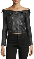 Haute Rogue Off-The-Shoulder Fuax Leather Jacket