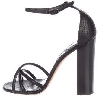 Chloé Snakeskin Ankle-Strap Sandals