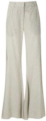 Adriana Degreas Printed Wide Leg Silk Trousers