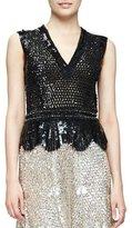Derek Lam Sleeveless V-Neck Embellished Blouse, Black