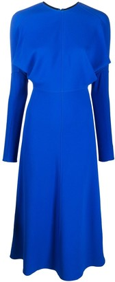 Victoria Beckham Long-Sleeved Flared Midi Dress