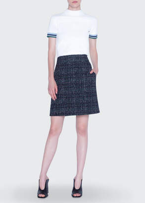 Akris Punto Mock-Neck Contrast Cuffed Sweater