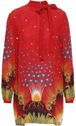 Valentino Pussy-bow Printed Silk Crepe De Chine Mini Dress