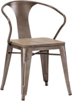 Rusty Helix Chair with Elm Wood Top - Set of 2