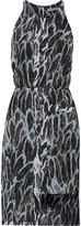 Halston Asymmetric printed crepe dress