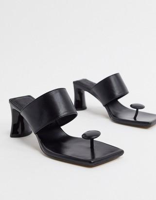 ASOS DESIGN Vacation premium leather toe post mid-heeled sandals in black