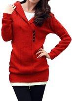 Allegra K Women's Shawl Collar Hooded Sweater L